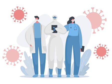 Flat vector illustration with brave doctors, nurses and medical workers in special protected uniform fighting with the pandemic. Frontline of fighting with covid and any other illness.