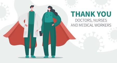 Vector illustration landing page banner of brave heroic doctors, nurses and medical workers with coronavirus. Gratitude, thank you for saving lives. Fighting with covid 19 pandemic and illness.  イラスト・ベクター素材