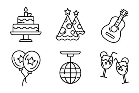 Line icon pack of party. Birthday celebration with a cake, hats, balloons, guitar or ukulele, different cocktails and alcohol drinks. Vector disco ball with thin lining. Vettoriali