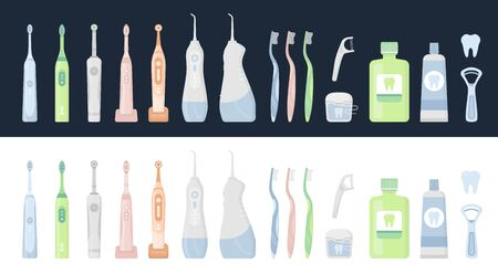 Big flat vector illustration set of dental cleaning tools and oral care hygiene products. Electric toothbrush, toothpaste, floss, oral irrigator, waterpick, mouthwash, tongue scraper, tooth Vettoriali