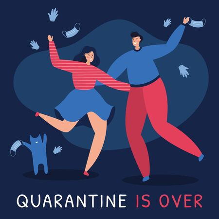 Vector illustration of the end of quarantine. A man and a woman with cat are tossing masks and gloves in the air, happy that the coronavirus pandemic lockdown is over, epidemic finished, celebrating.