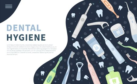 Vector illustration set, landing page or banner of dental cleaning tools, oral care hygiene products. Electric toothbrush, paste, floss, oral irrigator, waterpick, mouthwash, tongue scraper, tooth