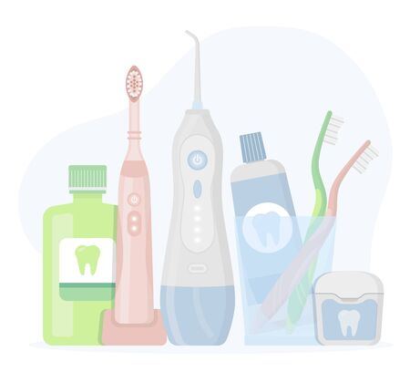 Electric toothbrush, toothpaste in a glass, floss, oral irrigator, waterpick, mouthwash on white background. Flat vector illustration set of oral care hygiene products and dental cleaning tools.