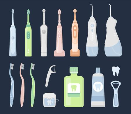 Big flat vector illustration set of oral care hygiene products and dental cleaning tools on dark background. Electric toothbrush, paste, floss, oral irrigator, waterpick, mouthwash, tongue scraper