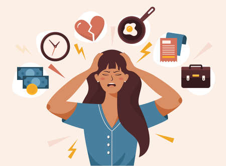 Flat vector illustration of woman with open mouth, clutching at head with both hands. She suffers from headache, panic, fright, depression. Stress, irritation factors, housekeeping, overwork, badmood