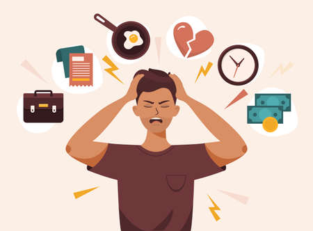 Flat vector illustration of a man with open mouth, clutches at head with both hands. He suffers from headache, panic, fright, depression. Stress, irritation factors, housekeeping, overwork, badmood