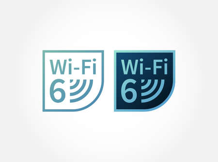 Vector gradient logo, emblem, sign for wireless communication, high speed, bandwidth. Blue icons wi-fi 6 new generation network for stickers, 802.11ax standard.