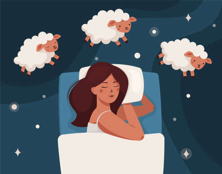 A woman falls asleep, dreams, and counts sheep. Insomnia and sleep disorders. The girl is lying on the bed, lambs are jumping around. Around the stars and dark space. Flat vector illustration. Vektoros illusztráció