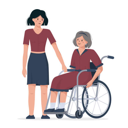Flat vector illustration of a female in a wheelchair. Daughter congratulates her mother with international day of disabled persons on december the third. Иллюстрация