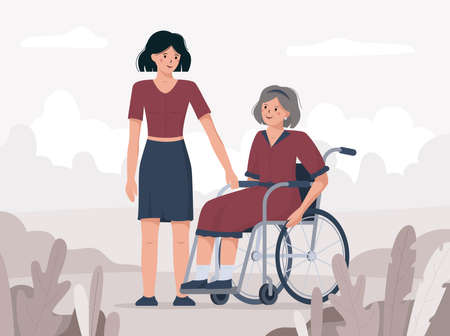 Granddaughter congratulates her grandmother on december the third with international day of disabled persons. Flat vector illustration of a female in a wheelchair.