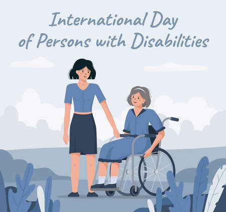 The 3rd of December is the international day of disabled persons. Flat vector illustration of a daughter congratulating her handicapped mother in a wheelchair. Illusztráció