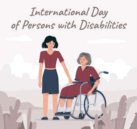 Flat vector illustration of a granddaughter congratulating her grandmother in a wheelchair. On December 3 international day of disabled persons. The concept of a banner or postcard in red colors. 矢量图像