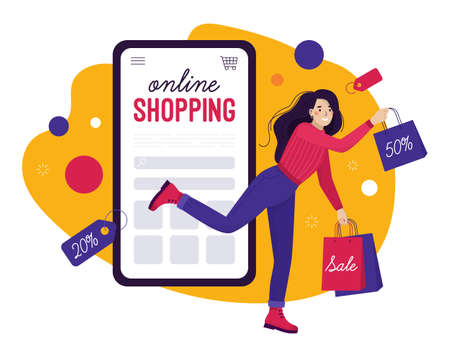 The concept of online shopping. Happy woman jumps out of smartphone with purchases. People shop in the store on their phone. Discounts and sales. Flat vector illustration or banner in trendy colors.