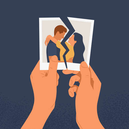 Hands holding a torn photo of a couple in love. The concept of divorce, separation and broken heart or reconciliation. Flat vector illustration of a relationship crisis on a blue background.