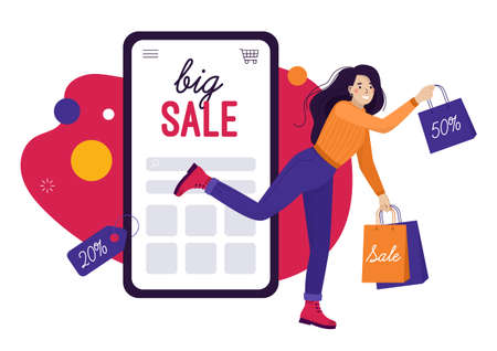 Happy woman shopping online. Discounts and big sales on your smartphone. Remote purchases. Flat vector illustration, banner.