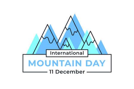 International Mountain Day on December 11. Vector blue illustration for a logo, banner, or postcard on white background