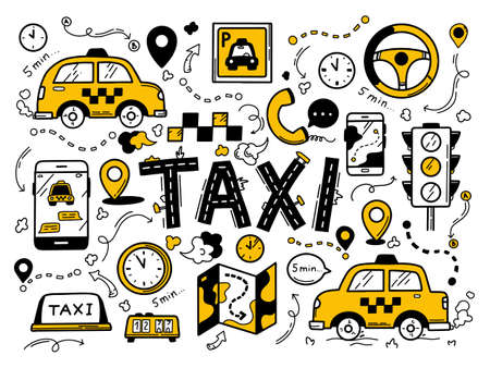 Taxi set in the doodle hand-drawn style. Traffic light, cars, signs. Vector illustration icons in black and yellow colours