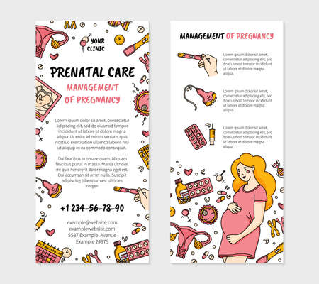 Management of pregnancy and prenatal care clinic leaflet flyer for printing in Doodle style, double-sided vector template