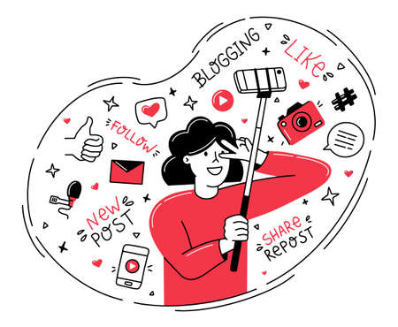 Female blogger shoots a vlog on her phone, takes a selfie. Vector concept in the Doodle hand drawing style