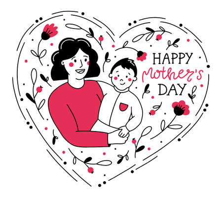 Happy Mother s Day vector illustration in Doodle style. A mom with a baby in her arms and flowers in the shape of a heart.