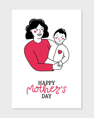 Happy Mother s Day vector postcard in Doodle style. Mom holds the baby