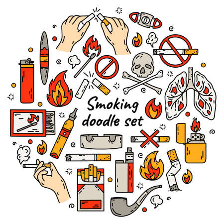 Cigarette smoking vector set in doodle style. The circle concept of bad habits with tobacco, lighters and vape. Illusztráció
