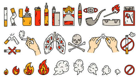 Smoking vector icons set in doodle style, hand drawing. The concept of bad habits with tobacco, lighters and Cigarettes