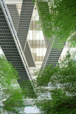 The steel bridge cross the building Stock Photo