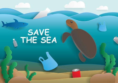 Save the sea or ocean cartoon vector concept, illustration. There are plastic bag,bottle,trash,waste,garbage,rubblish,turtle,shark,fish,seaweed in the sea on blue sky background. Water pollution.