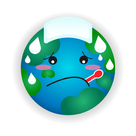 Global warming cartoon illustration vector. Climate change concept graphic icon.