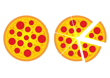 Pizza food flat cartoon design vector, illustration.There are pepperoni, cheese italian fast food. Top view of pizza slides isolated on white background.