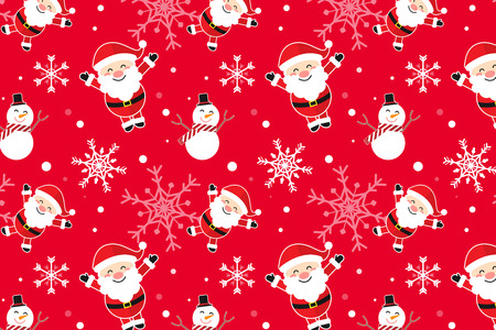 Merry christmas cartoon concept seamless pattern background design,vector illustration.Happy smiling Santa cluas,snowman,snow flakes on red background.