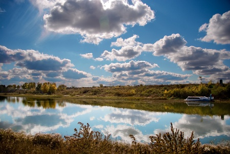 Autumn landscape in siberia Stock Photo