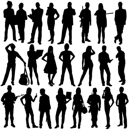 23 people silhouettes, isolated on white background Stock Photo