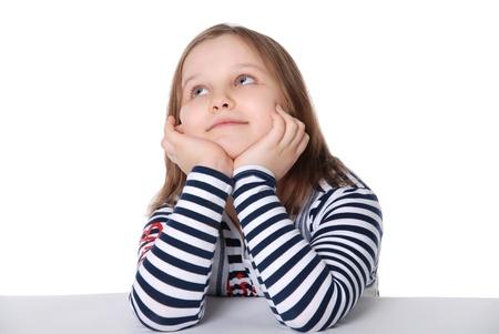 The girl looks upwards isolated on white background photo