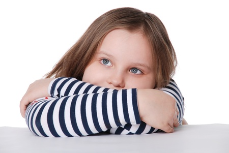 Portrait of pensive girl isolated on white background photo