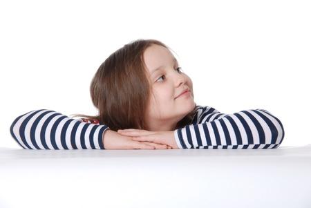 Portrait of smiling girl isolated on white background photo