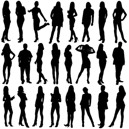 siluetas de mujeres: siluetas de personas aisladas sobre fondo blanco