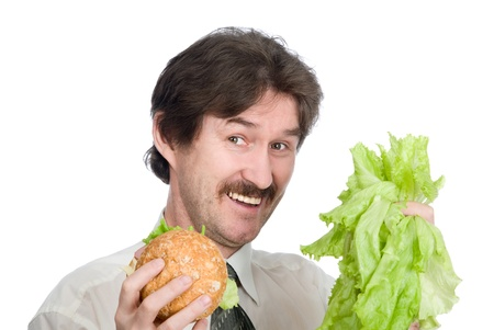 The man has chosen salad.Choice of the vegetarian Stock Photo - 12358477