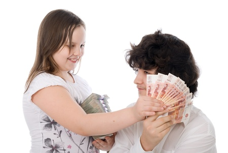 girl wants to take away money from boy over white background photo