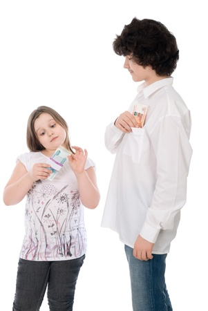 boy with girl count money over white background photo
