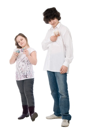 guy and girl consider money over white background photo