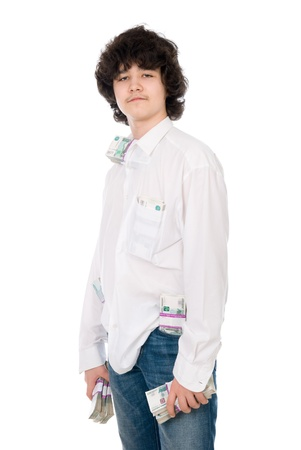 batch: young guy holds batch of money over white background