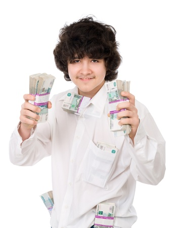 encash: young guy holds batch of money over white background