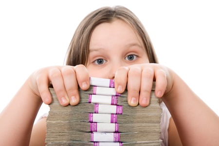 transferable: Beautiful girl and pile of money  over white background