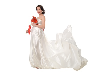 Pregnant woman with a dress fluttering from a wind Stock Photo - 13604639