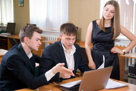 businessmeeting: Business people solve problems at office. Stock Photo