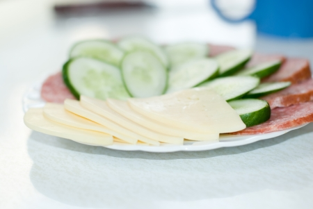Dish with cut sausage, cheese and a cucumber  photo