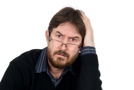 Portrait of bearded man wearing glasses about amazement looking in chamber.Isolated on a white background