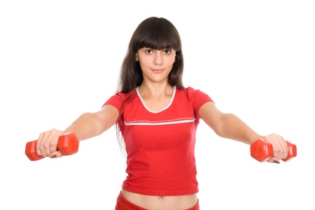 Woman with dumbbells at arm's length. Active sporty life, wellness. Stock Photo - 15484193